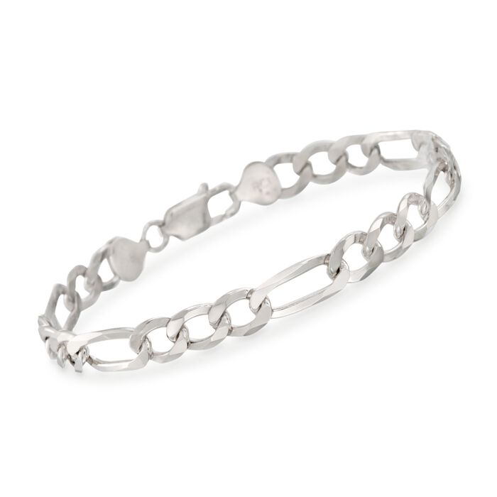 """Men's 7.7mm Sterling Silver Figaro Link Bracelet. 8.5"""""""