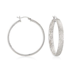 Sterling Silver Diamond-Cut Hoop Earrings, , default