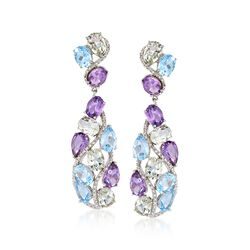 30.30 ct. t.w. Multi-Stone Drop Earrings With Diamond Accents in Sterling Silver, , default