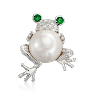 14mm Simulated Pearl and Simulated Emerald Frog Pin Pendant With CZs in Sterling Silver, , default