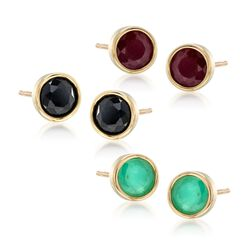 3.60 ct. t.w. Multi-Stone Jewelry Set: Three Pairs of Bezel-Set Stud Earrings in 18kt Gold Over Sterling, , default