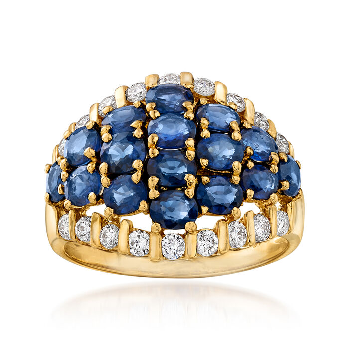 C. 1980 Vintage 3.48 ct. t.w. Sapphire and .57 ct. t.w. Diamond Dome Ring in 18kt Yellow Gold