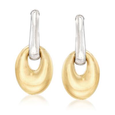 Italian Two-Tone Sterling Silver Oval Drop Earrings, , default
