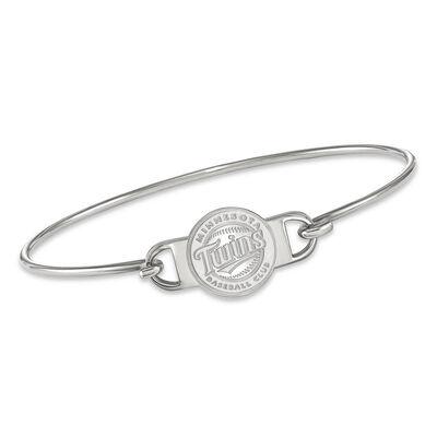 "Sterling Silver MLB Minnesota Twins Small Center Wire Bangle Bracelet. 7"""