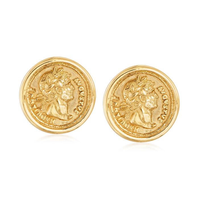 Italian Replica Coin Stud Earrings in 18kt Yellow Gold, , default