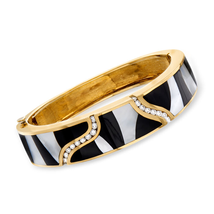 """C. 1980 Vintage Mother-Of-Pearl, Black Onyx and 1.05 ct. t.w. Diamond Bangle Bracelet in 18kt Yellow Gold. 6.5"""""""