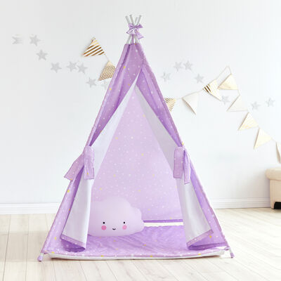 Child's Purple Twinkle Star Teepee Tent, , default