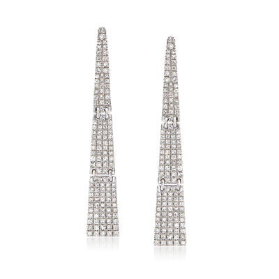 .69 ct. t.w. Pave Diamond Triangular Drop Earrings in 14kt White Gold , , default