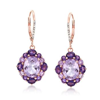 6.10 ct. t.w. Pink and Purple Amethyst Earrings With Diamond Accents in 14kt Rose Gold, , default