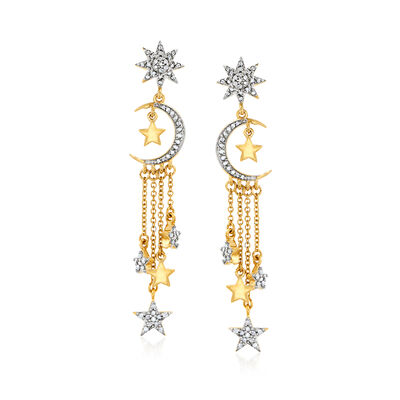 .33 ct. t.w. Diamond Star and Moon Drop Earrings in 18kt Gold Over Sterling