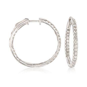 """1.50 ct. t.w. Diamond Inside-Outside Hoop Earrings in 14kt White Gold. 1 1/8"""", , default"""