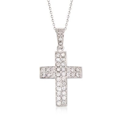 1.00 ct. t.w. Diamond Cross Pendant Necklace in 14kt White Gold, , default