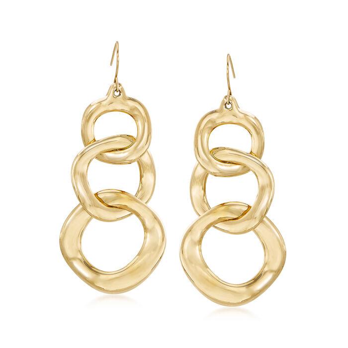 Italian Andiamo 14kt Yellow Gold Wavy Link Earrings, , default