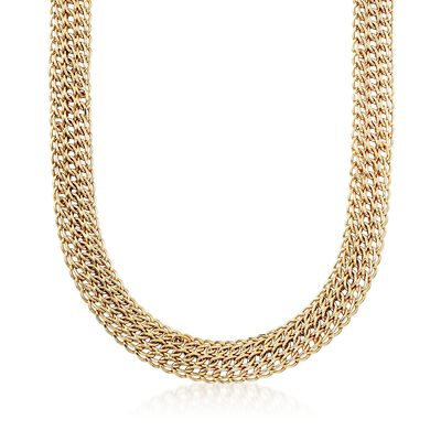 14kt Yellow Gold Triple Row Link Necklace, , default