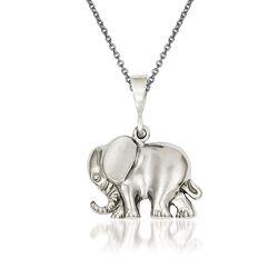 14kt White Gold Elephant Pendant Necklace, , default