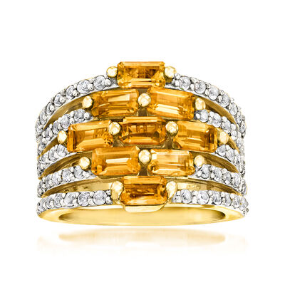 3.40 ct. t.w. Citrine and .60 ct. t.w. White Topaz Multi-Row Ring in 18kt Gold Over Sterling, , default