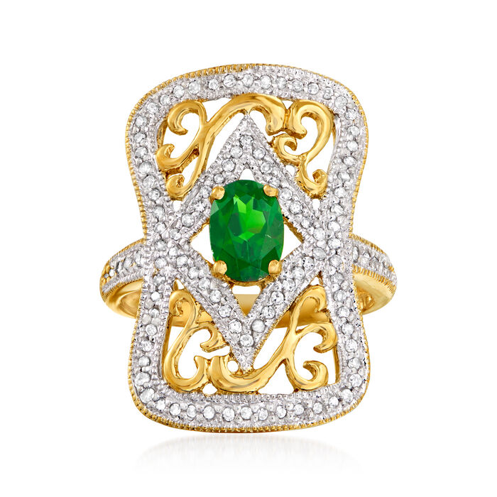 C. 1990 Vintage .80 Carat Green Chrome Diopside and .50 ct. t.w. Diamond Ring in 14kt Yellow Gold. Size 7, , default