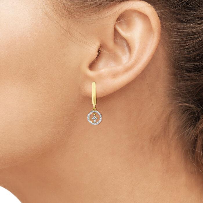 .15 ct. t.w. Diamond Cross Drop Earrings in 18kt Yellow Gold Over Sterling Silver