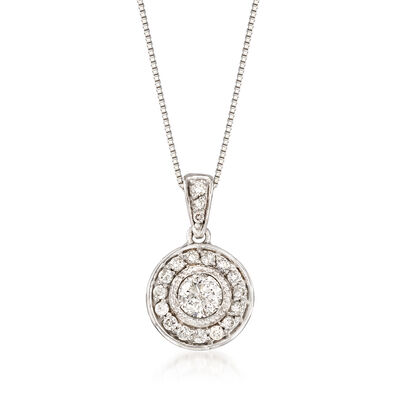 .40 ct. t.w. Diamond Halo Pendant Necklace in Platinum, , default