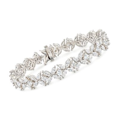 15.80 ct. t.w. CZ Floral Bracelet in Sterling Silver, , default