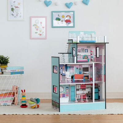 "Child's ""Dreamland"" Barcelona White and Pink Dollhouse"
