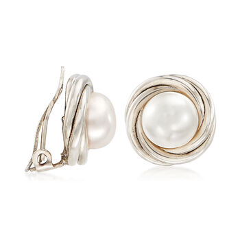 8mm Cultured Pearl Clip-On Earrings in Sterling Silver