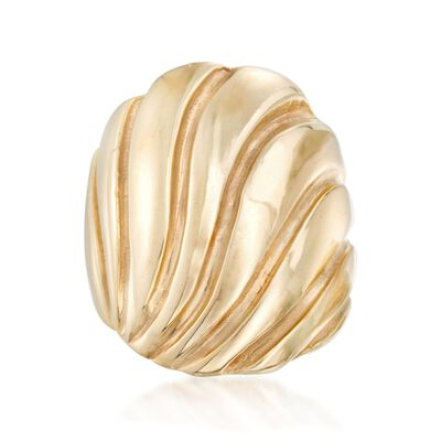 Italian 18kt Gold Over Sterling Grooved Ring, , default