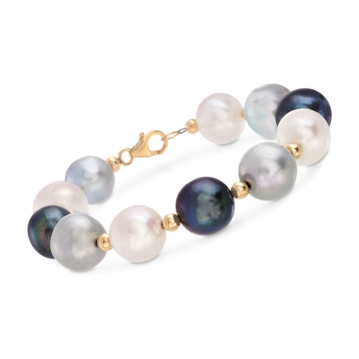 11.5-12.5mm Multicolored Cultured Pearl Bracelet in 14kt Yellow Gold, , default