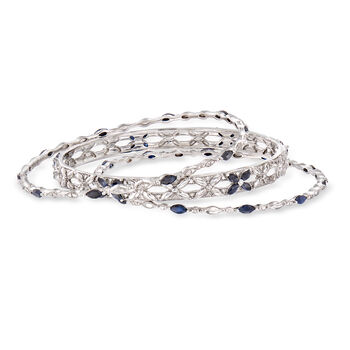 "5.00 ct. t.w. Sapphire Jewelry Set: Three Bangle Bracelets in Sterling Silver. 7"", , default"
