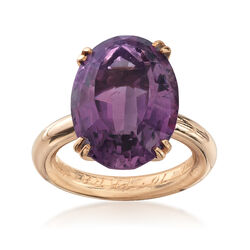 C. 1970 Vintage 11.75 ct. t.w. Amethyst Ring in 14kt Yellow Gold, , default