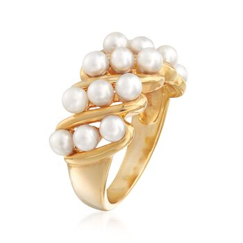 3-3.5mm Cultured Pearl Ring in 18kt Gold Over Sterling, , default