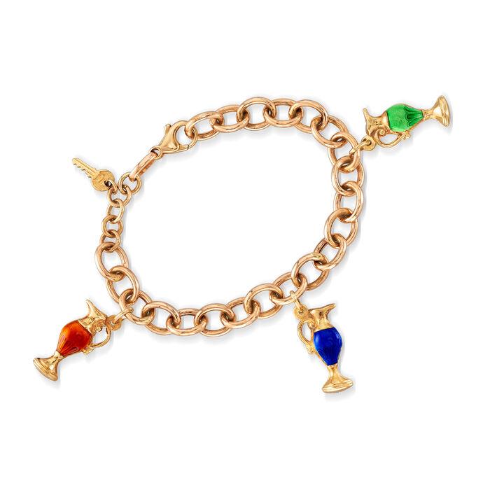 "C. 1980 Vintage Multicolored Enamel Goblet and Key Charm Bracelet in 14kt Yellow Gold. 7"""