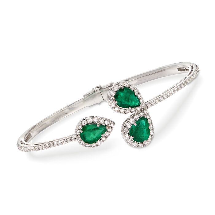 """3.00 ct. t.w. Emerald and 1.78 ct. t.w. Diamond Hinged Cuff Bracelet in 18kt White Gold. 7.5"""", , default"""