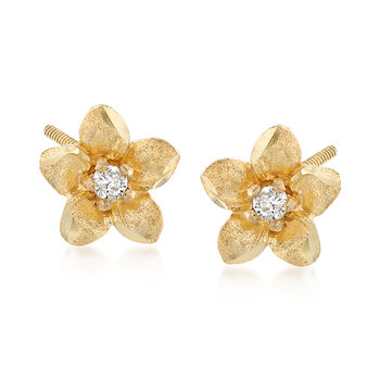 Child's 14kt Yellow Gold Flower Stud Earrings With Diamond Accents, , default