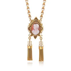 "C. 1900 Vintage 23.7x17.5mm Agate Cameo and Cultured Seed Pearl Tassel Pin Pendant Necklace in 12kt Gold. 17.5"", , default"