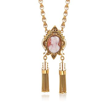 """C. 1900 Vintage 23.7x17.5mm Agate Cameo and Cultured Seed Pearl Tassel Pin Pendant Necklace in 12kt Gold. 17.5"""", , default"""