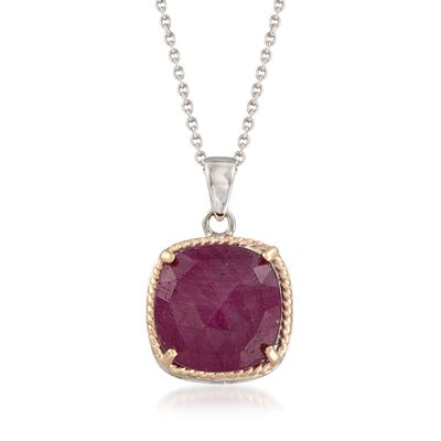 6.50 Carat Ruby Pendant Necklace in Sterling and 14kt Gold, , default