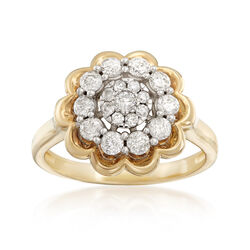 .75 ct. t.w. Diamond Flower Ring in 14kt Yellow Gold, , default