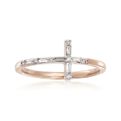 .16 ct. t.w. Diamond Cross Ring in 14kt Rose Gold, , default