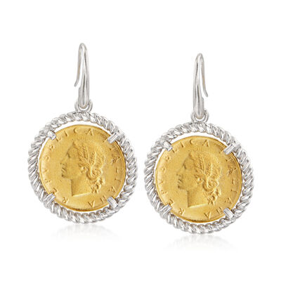 Italian Replica Lira Coin Earrings in Sterling Silver and 18kt Gold Over Sterling, , default