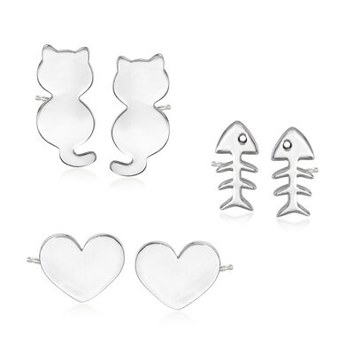 Sterling Silver Jewelry Set: Three Pairs of Cat Stud Earrings