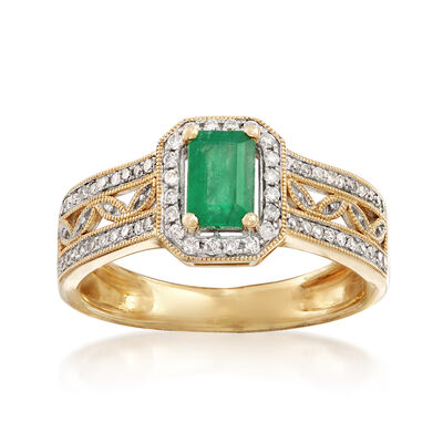 .40 Carat Emerald and .22 ct. t.w. Diamond Halo Ring in 14kt Yellow Gold, , default