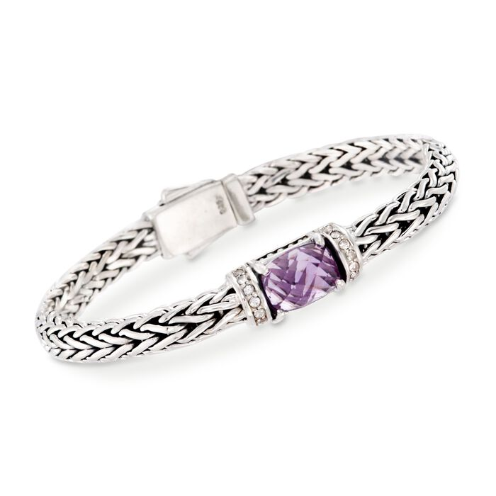 "Phillip Gavriel ""Woven"" 3.50 Carat Amethyst and .30 ct. t.w. White Sapphire Link Bracelet in Sterling Silver. 7.5"", , default"