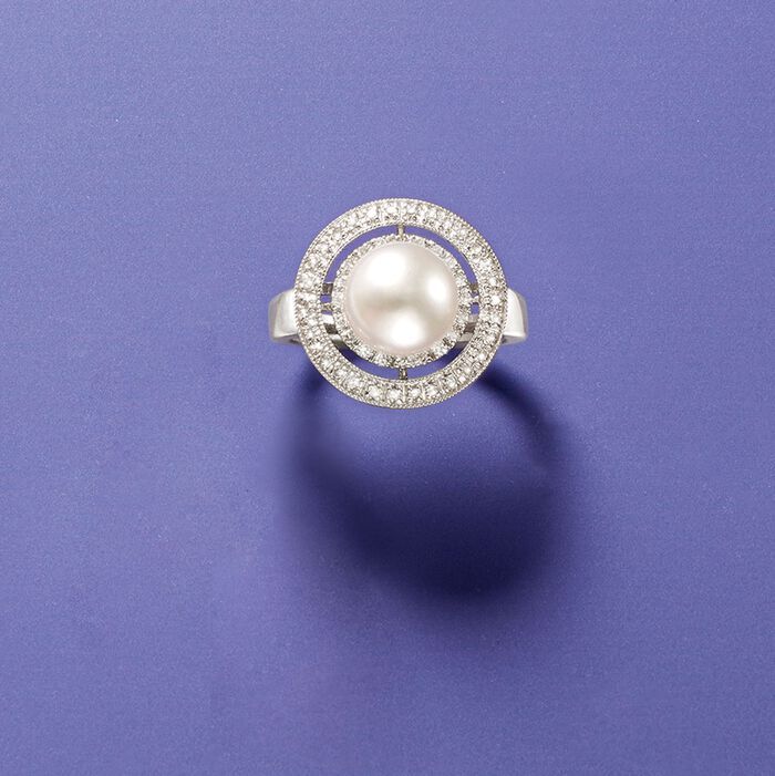 8.5mm Cultured Pearl and .20 ct. t.w. Diamond Double Halo Ring in 14kt White Gold