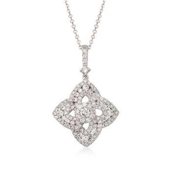"1.15 ct. t.w. Diamond Floral Pendant Necklace in 18kt White Gold. 16"", , default"