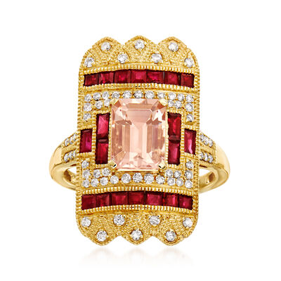 1.80 Carat Morganite and 1.20 ct. t.w. Ruby Ring with .35 ct. t.w. Diamonds in 14kt Yellow Gold