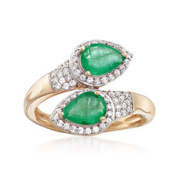 1.70 ct. t.w. Emerald and .60 ct. t.w. White Zircon Ring in 14kt Yellow Gold, , default