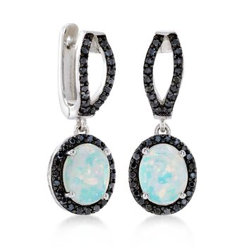 White Opal and .80 ct. t.w. Black Spinel Drop Earrings in Sterling Silver , , default
