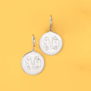 Italian Sterling Silver Monogram Disc Drop Earrings, , default