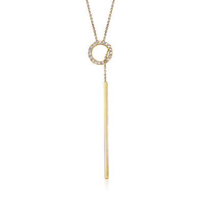 Italian .10 ct. t.w. CZ Lariat Necklace in 14kt Yellow Gold, , default